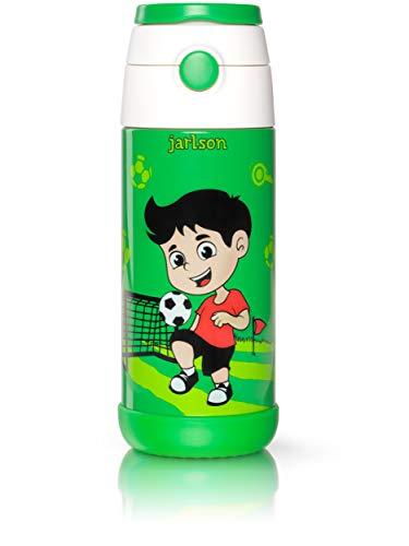 Jarlson Trinkflasche Kinder - Thermo Edelstahl Wasserflasche 350ml - BPA frei - auslaufsicher - Kinderflasche mit Strohhalm - Flasche für Schule, Kindergarten, Fahrrad (Fußball, 350 ml)