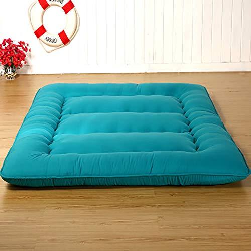 CUICI 100% Algodón Shikibuton Almohadilla para Dormir Cama Couch,Roll Up Viaje Colchón Futon,Portátil Plegado Acampada Colchón-Azul. 180x200cm(71x79inch)