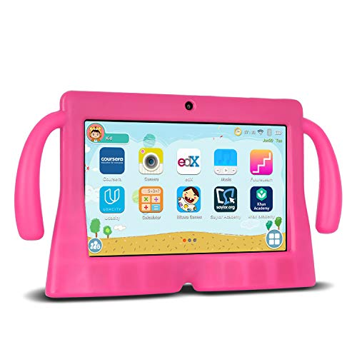 Xgody Kinder-Tablets, 17,8 cm (7 Zoll) HD-Tablets für Kinder, elterliche Kontrolle, für Internet Cloud Klasse, Android 8.1 GMS, 16 GB, Quad Core, rosa kindersichere Hülle