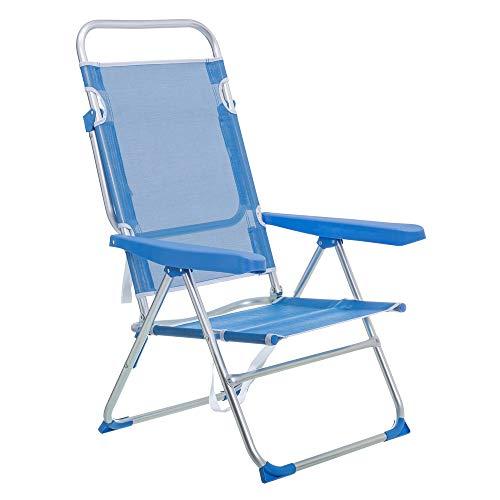 LOLAhome Silla de Playa con Brazos reclinable Azul de Aluminio de 100x61x56 cm