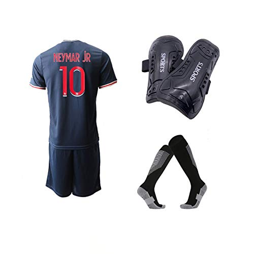 A-Fantasy 2020/21#10 Youth Soccer Jerseys with Kids Soccer Shin Guards Socks for Boys/Girls Blue/Red