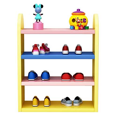 DAGCOT Zapatero Rack de Zapatos de 4 Pisos Rack de Zapatos for niños de Colores El Estante de Almacenamiento Simple Ahorra Espacio (Color : Yellow)