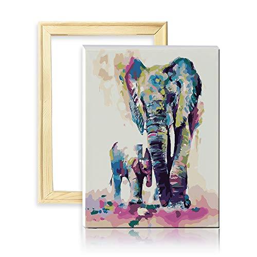 """decalmile Pintura por Número de Kits DIY Pintura al óleo para Adultos Niños Colorido Elefantes Padre e Hijo 16""""X 20"""" (40 x 50 cm, con Marco de Madera)"""
