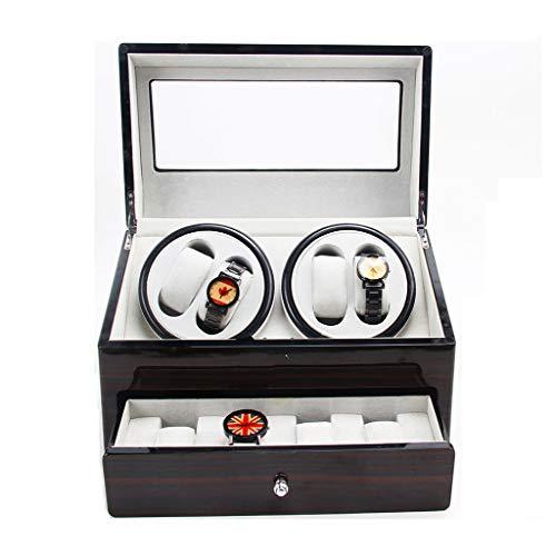 CHYOOO Uhrenbox Luxus Uhrenbeweger Automatische Laufleise Klavier Holz für 4+4 Armbanduhren (mit Schlüssel Öffnen) Uhr Display Aufbewahrungsbox (Color : Brown)