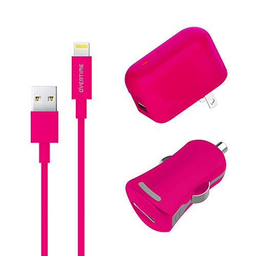 iPhone Charger, Overtime Apple MFi Certified 4ft Lightning USB Cable with Wall & Car Charger Adapter for iPhone 11 Pro Max X Xs XR 8 7 6s 5 SE, iPad Pro Air Mini - Pink
