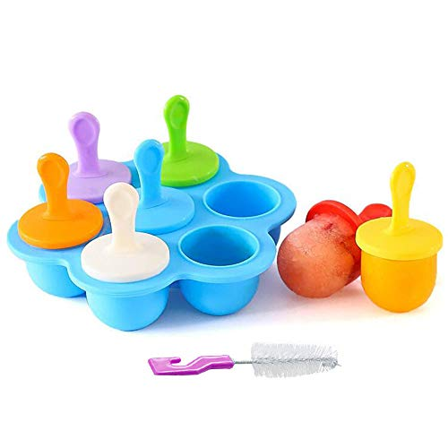 AcserGery Eisformen 7 Eisformen Popsicle Formen Set, EIS am Stiel Bereiter für Kinder, mit Reinigungsbürste (Blau)