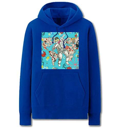 LINLIM Felpa con Cappuccio Comic Covid-19 Corona Virus Creativi Maglione del Fumetto Micro-più Velluto Primavera Jacket Cotton Casual Blue- XXL
