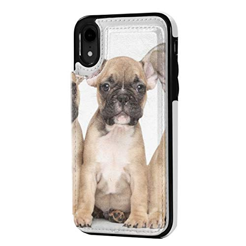 Leather iPhone XR Wallet Case, Card Holder Case with Credit Card Slots French Bulldog, Anti-Scratch Shock Proof Soft TPU Bumper Full-Body Protective Case Cover for iPhone XR 6.1 Inch