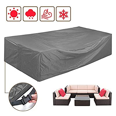 STARTWO Patio Furniture Set Covers Waterproof, Outdoor Sectional Sofa Cover Fits Large Rectangular/Oval 8-12 Seats Set Durable Rainproof Protector with Buckle Straps 126 x 63 Inches Grey