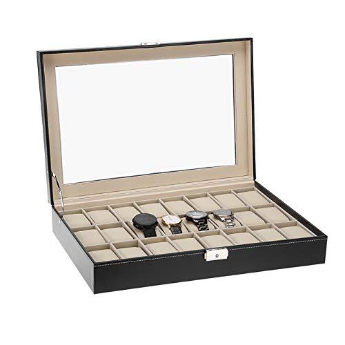 Uhrenkasten 24 Uhren Uhrenbox Herren Aufbewahrungsbox mit Schloss Watch Box Schwarz