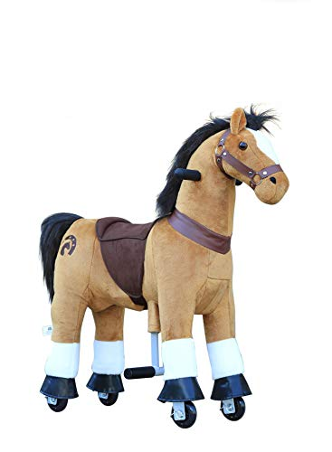 Medallion - My Pony Ride On Horse for Girls and Boys Small Size for 3 to 4 Years Old (Brown Color)