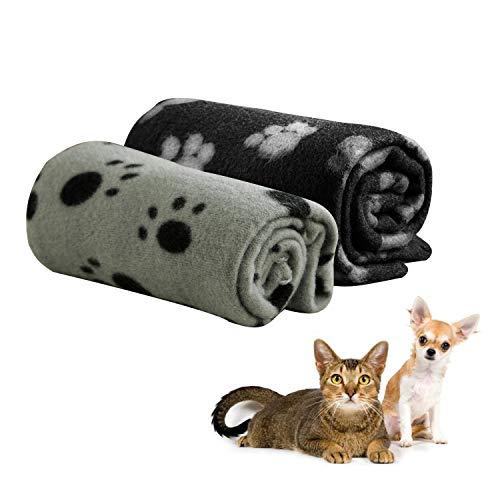 Yesloo Juego de 2 Mantas, 100*70cm Mantas de Huellas de Animales, Manta para Cachorro, Perro, Manta para Animales pequeños, Negro, Gris