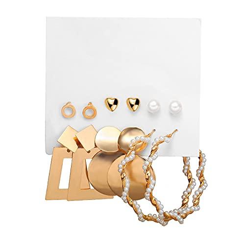 1 pieza de pendientes para niñas, elegantes pendientes de aro con perlas y perlas