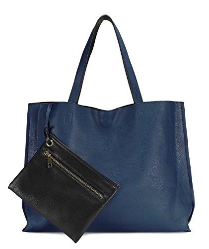 Scarleton Stylish Reversible Tote Handbag for Women, Vegan Leather Shoulder Bag, Hobo bag, Satchel Purse, Blue/Black, H18420701