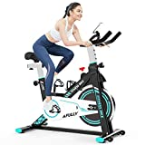 Afully Indoor Exercise Bikes Stationary, Indoor Cycling Belt Drive with Adjustable Resistance, LCD Monitor, Pad/Phone Holder, Comfortable Cushion, Quiet for Home Cardio Workout (Light Blue)