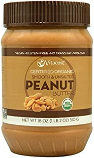Vitacost Whole Food Certified Organic Smooth & Unsalted Peanut Butter - 18 oz (510 g)