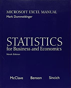Statistics for Business and Economics: Microsoft Excel Manual (9th Ed, w/CD) 0130466492 Book Cover