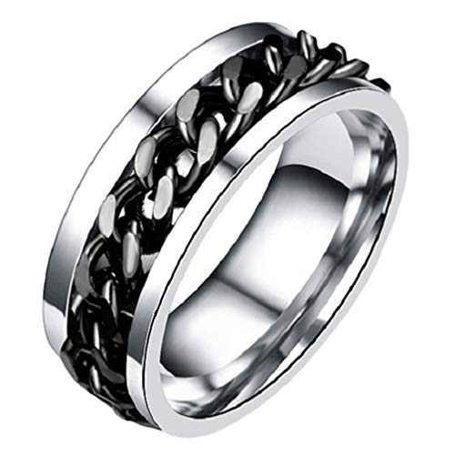 Holibanna Simple Finger Ring Stainless Steel Ring Fidget Band Rings Cool Spinner Rings Fashion Finger Accessories Jewelry Gift for Man Women Lover Boy Street (Black)