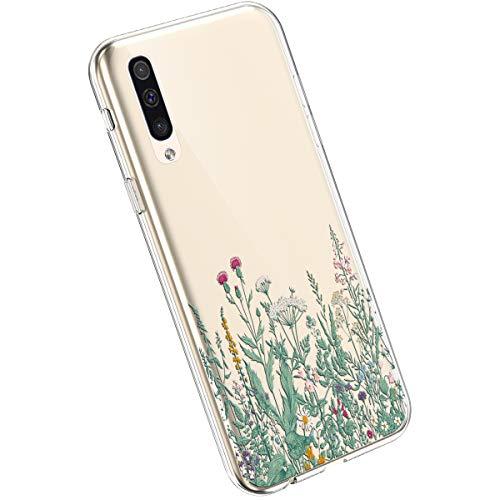 Ysimee Hülle kompatibel mit Samsung Galaxy A50 Handyhülle, Transparent Weiche Silikon Schutzhülle Malerei Muster Blumen Design [Crystal Klar] TPU Bumper Dünne Stoßfeste Protective Hülle, Blume -21