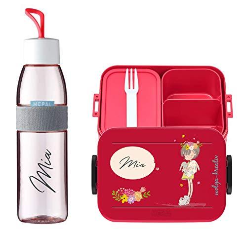 wolga-kreativ Brotdose Obsteinsatz Bento Box und Trinkflasche auslaufsicher BPA frei für Kinder Mepal Mädchen Junge Rehkitz personalisiert mit Namen Lunchbox Brotbox mit Fächern