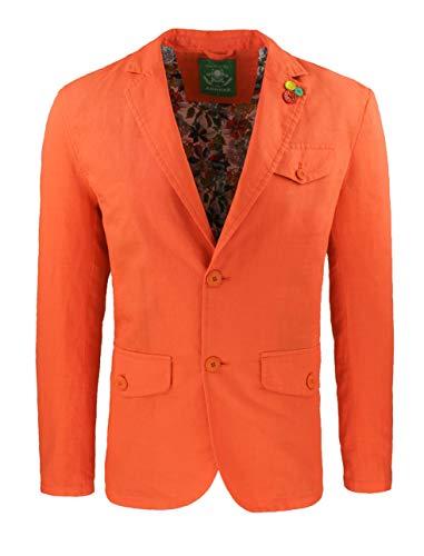 ADR Giacca Uomo in Lino Classic Elegante 2 Bottoni Blazer Man's Jacket (L, Arancio)