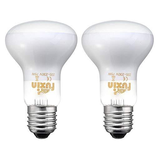POFET - 2 lampadine riscaldanti per rettili e anfibi, a raggi infrarossi, resistenti e termiche, per riscaldamento, luce bianca per animali domestici, per rettili e anfibi,220-240 V (75 W)