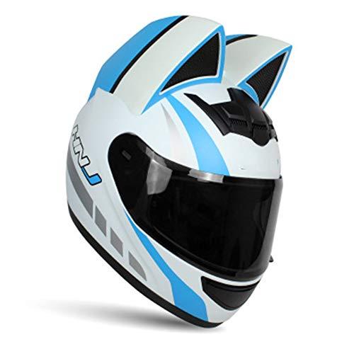 KuaiKeSport Motocross Helm, ECE-geprüft Adult Motorradhelm Integralhelm Helm Offroad Moto Street Sturzhelm Helm Fahrrad Helme mit Persönlichkeit Katzenohren Abnehmbar für Männer Damen,Whiteblue,XL