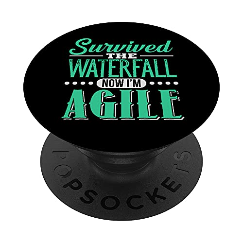 Agile Survived Waterfall Project Management Funny PM Coach PopSockets PopGrip Intercambiable