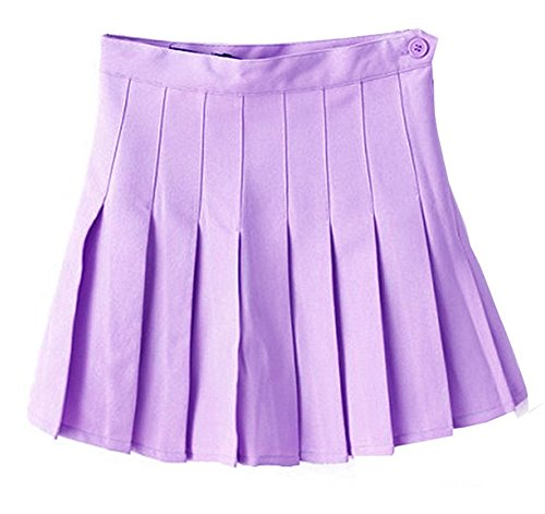 Women School Uniforms plaid Pleated Mini Skirt Light Purple a 14
