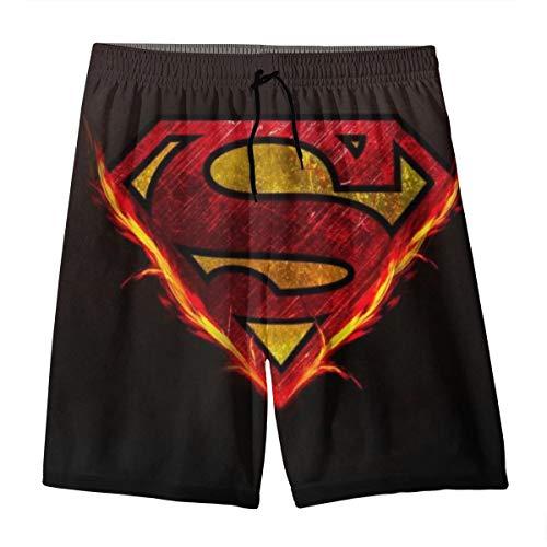 LIFUQING Superhero Superman Teenager Shorts Boy and Girl Swimming Shorts Mesh Lined Beach Pants-X-Large White