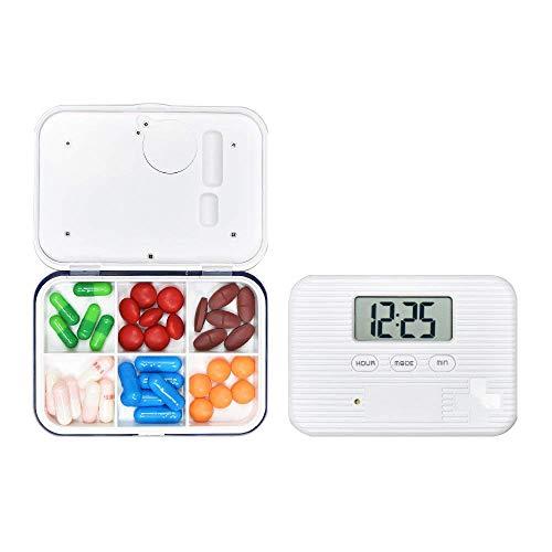 Contever Pastillero Electrónico con Alarma Semanal con 6 Compartimientos Caja Organizador de Pastillas Recordatorio de Pastillero Pill Reminder Pill Box de Viaje, Azul Blanco
