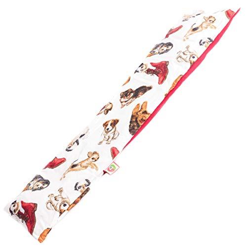 Saco Térmico Semillas Cervical - Almohada Cuello para Calentar en Microondas (50x12 cm) - Cojín de Semillas - Bolsa de Calor con Funda lavable, Tela de Algodón 100% y Olor a Lavanda (Perritos)