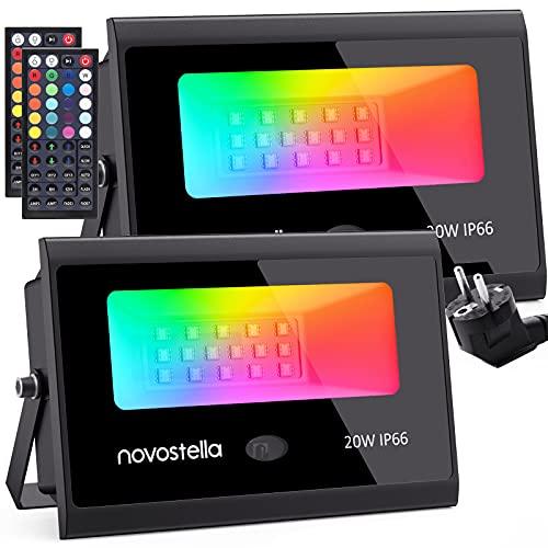 Focos LED RGB Exterior 20W 2 Piezas, Novostella Proyector LED 20 Colores 6 Modos Ajustable, IP66 Impermeable con Control Remoto, Función de Memoria y Temporizador, Luz Decoración Jardín Fiesta