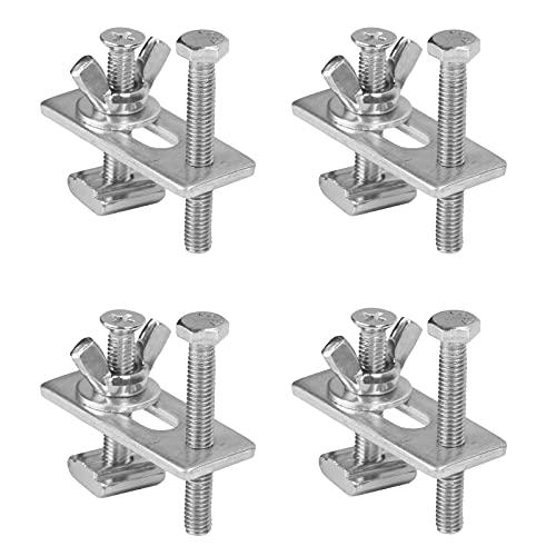 BAMZOK Abrazadera de Sujeción con Ranura en T de 4 Piezas Hecha de Abrazadera de Riel en T de Metal para Herramientas de Carpintería Soldadura CNC Fresadora / Máquina de Grabado