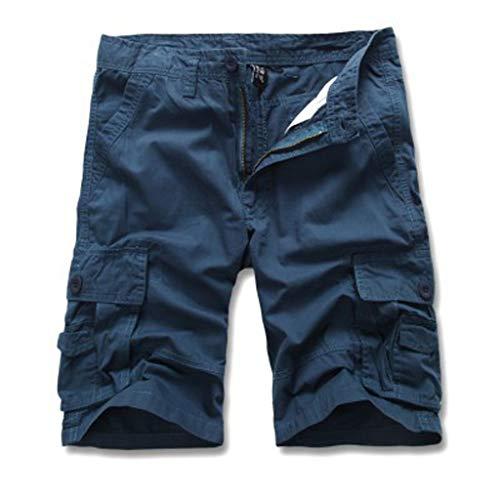 Cargo Hose Männer Kurz Shorts GreatestPAK Herren Einfarbig Cargo-Shorts Knopf Pocket Arbeitshorts Mode,Blau,EU:L(Tag:33)