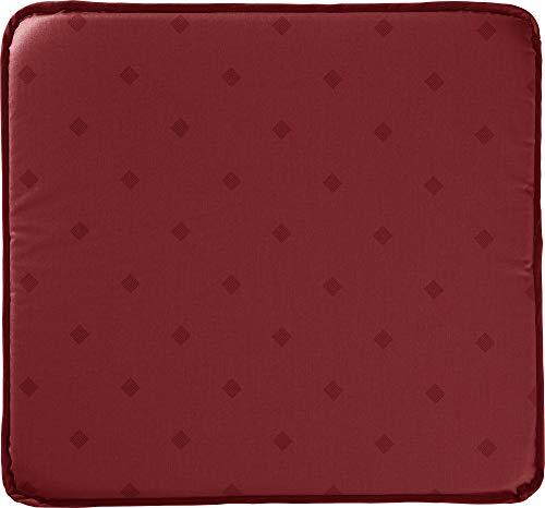 Erwin Müller abwaschbares Stuhlkissen, Sitzkissen Neuss im Rautendesign, Burgund Größe 38x41 cm - acrylversiegeltes Gewebe für leichtes Wischen (weitere Farben)