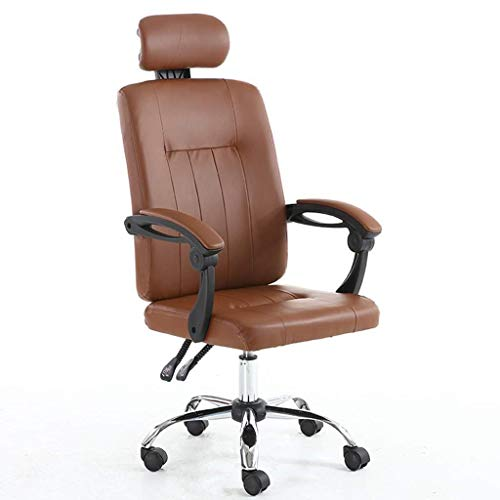 DBGS Gratis Ascensor bureaustoel/huisstoel van leer, bekleed, 135 graden reclining/reliëf, verstelbare hoofdsteun Bruin