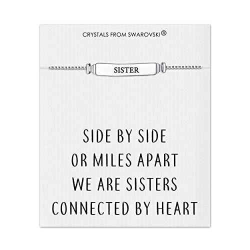 Philip Jones Schwester-ID Freundschaftsarmband mit Zitatkarte, hergestellt mit österreichischen Kristallen