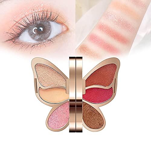 QFGfhgf Sombra de Ojos de Mariposas de 6 Colores, Paleta de Maquillaje de Mariposas, Maquillaje de Sombra de Ojos, Resistente al Agua, Duradero, Brillante, Mate, para Mujeres y niñas 02