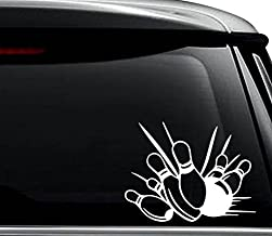 Bowling Pins Bowler Decal Sticker For Use On Laptop, Helmet, Car, Truck, Motorcycle, Windows, Bumper, Wall, and Decor Size- [6 inch] / [15 cm] Wide / Color- Gloss White