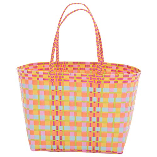 Overbeck and Friends Strandtasche Einkaufstasche Zara orange/gelb/pink/rosa/bunt groß - Shopper Tragtasche Einkaufskorb Kunststoff geflochten stabil robust wasserabweisend
