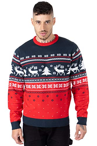 NOROZE, maglione unisex da uomo, con albero di Natale, renna e fiocchi di neve Hoho - Albero di renna, colore: Blu marino L