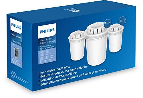 Philips Aqua Solutions Ersatz-Filterkartuschen, 3er-Set, AWP201, für diverse Philips Wasserfilter-Karaffen, gegen Kalk, Blei, Chlor, Mikro-Plastik