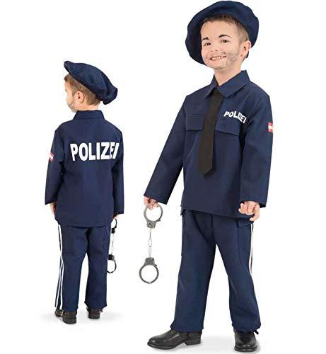 KarnevalsTeufel Kinderkostüm Polizei-Kostüm Österreich Austrich Police Ordnungshüter Anzug Mütze Krawatte blau (116)