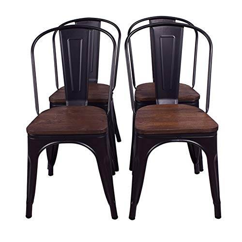 FANGYU Chair Sedia Moderna in Metallo Stile Nero Sedia da Pranzo in Legno massello Sedia Kichen Set di 4