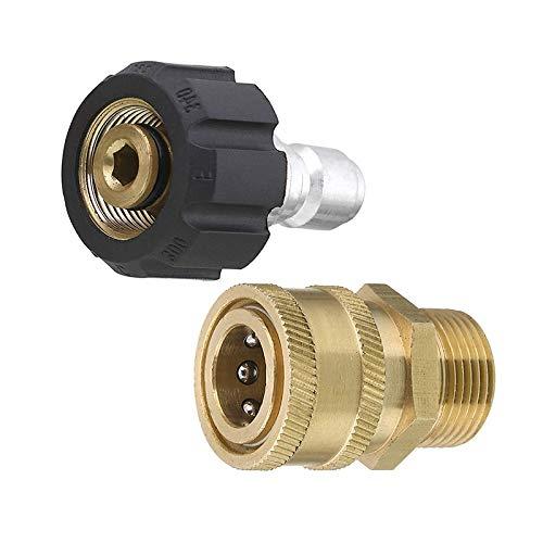 Set adattatore per idropulitrice, raccordo da 15 mm a spina M22, attacco rapido da 3/8 di pollice, 5000 PSI, kit di connessione rapida, adattatore da pistola a asta, adattatore di connessione rapida