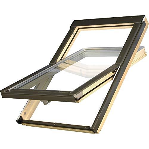 Günstige Dachfenster 55x78 OptiLight B Holz klar lackiert | Schwingfenster mit 2-fach Verglasung | U-Wert Fenster: 1.3 | inkl. Eindeckrahmen