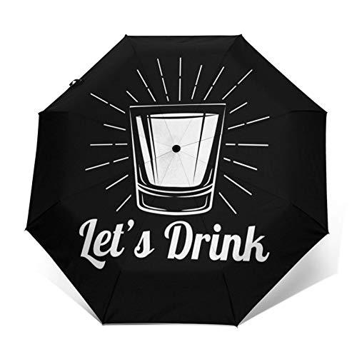 Ombrello Portatile Automatico Antivento, Ombrello Pieghevole Compatto, Folding Umbrella, Baldacchino Rinforzato, Impugnatura Ergonomica Bere whisky sparato