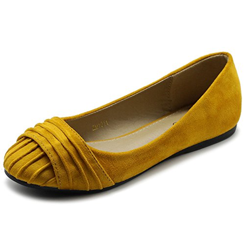 Ollio Women's Shoes Faux Suede Pleated Muliti Color Comforts Ballet Flat NEW1011 (7.5 B(M) US, Mustard)