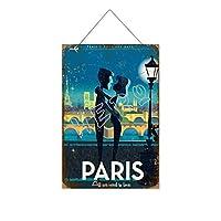 パリ木製のリストプラーク木の看板ぶら下げ木製絵画パーソナライズされた広告ヴィンテージウォールサイン装飾ポスターアートサイン